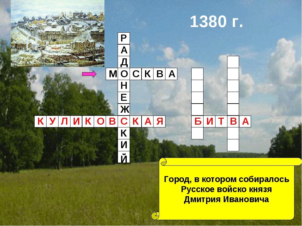 Город, в котором собиралось Русское войско князя Дмитрия Ивановича 1380 г. М...