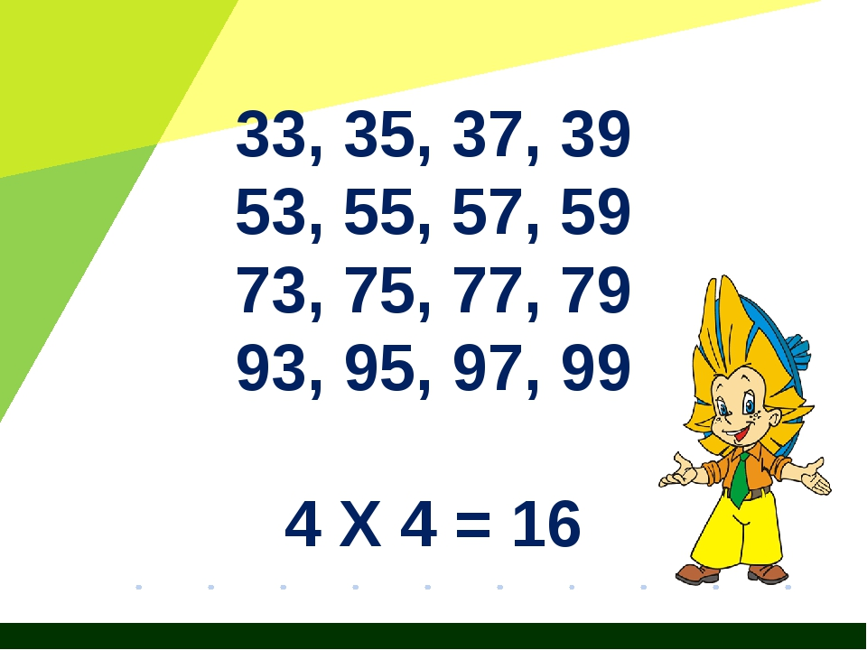 33, 35, 37, 39 53, 55, 57, 59 73, 75, 77, 79 93, 95, 97, 99 4 Х 4 = 16 Журнал...