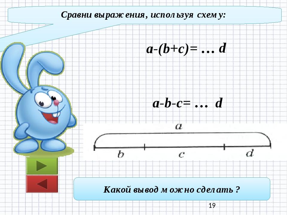 Сравни выражения, используя схему: a-(b+c)= … a-b-c= … d d Какой вывод можно...