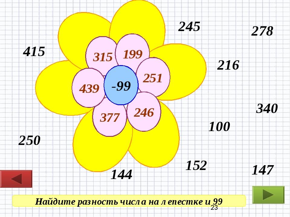 Найдите разность числа на лепестке и 99 250 216 100 245 278 340 144 147 415 1...