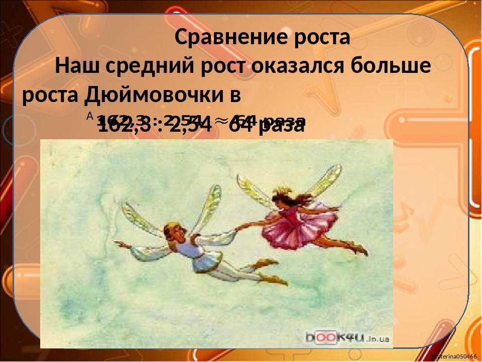 Сравнение роста Наш средний рост оказался больше роста Дюймовочки в Ekaterin...