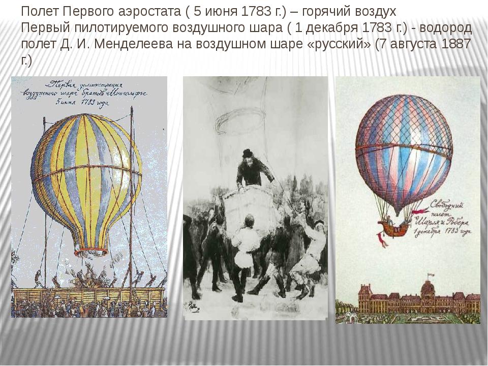 Полет Первого аэростата ( 5 июня 1783 г.) – горячий воздух Первый пилотируемо...