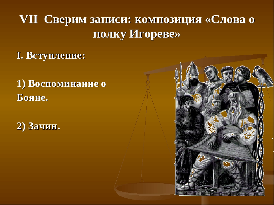 VII Сверим записи: композиция «Слова о полку Игореве» I. Вступление: 1) Воспо...