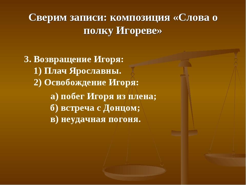 Сверим записи: композиция «Слова о полку Игореве» 3. Возвращение Игоря: 1) Пл...