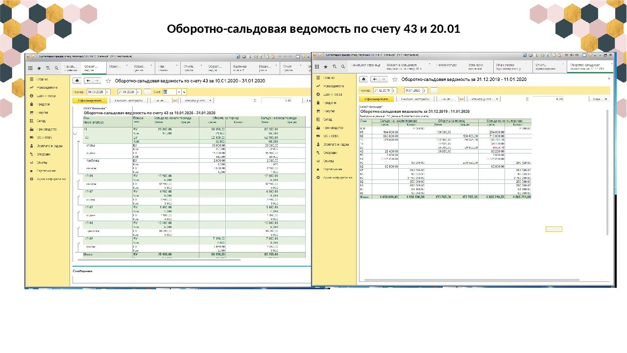 Оборотно-сальдовая ведомость по счету 43 и 20.01