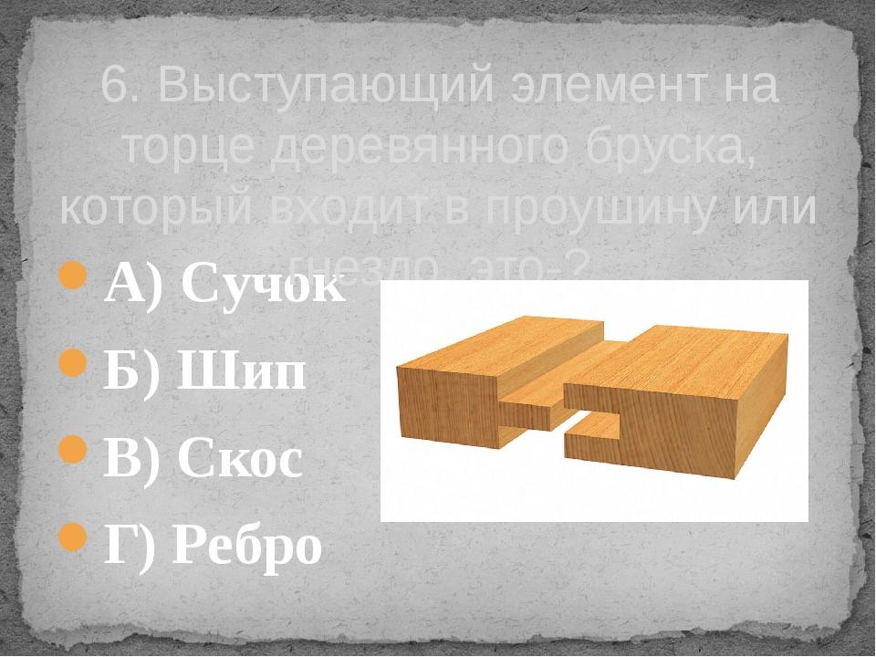 А) Сучок Б) Шип В) Скос Г) Ребро 6. Выступающий элемент на торце деревянного...