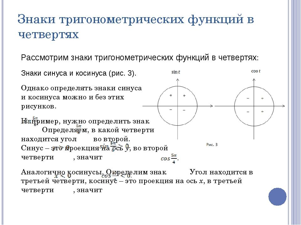Реферат на тему тригонометрические функции числового аргумента 9980