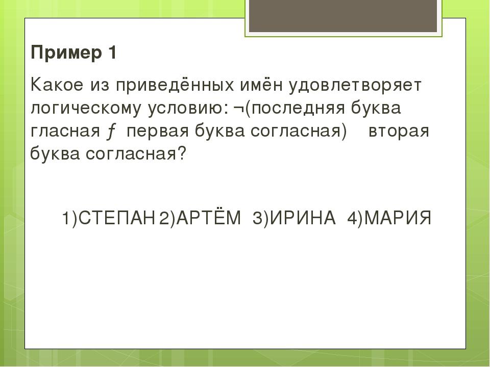 Пример 1 Какое из приведённых имён удовлетворяет логическому условию: ¬(после...