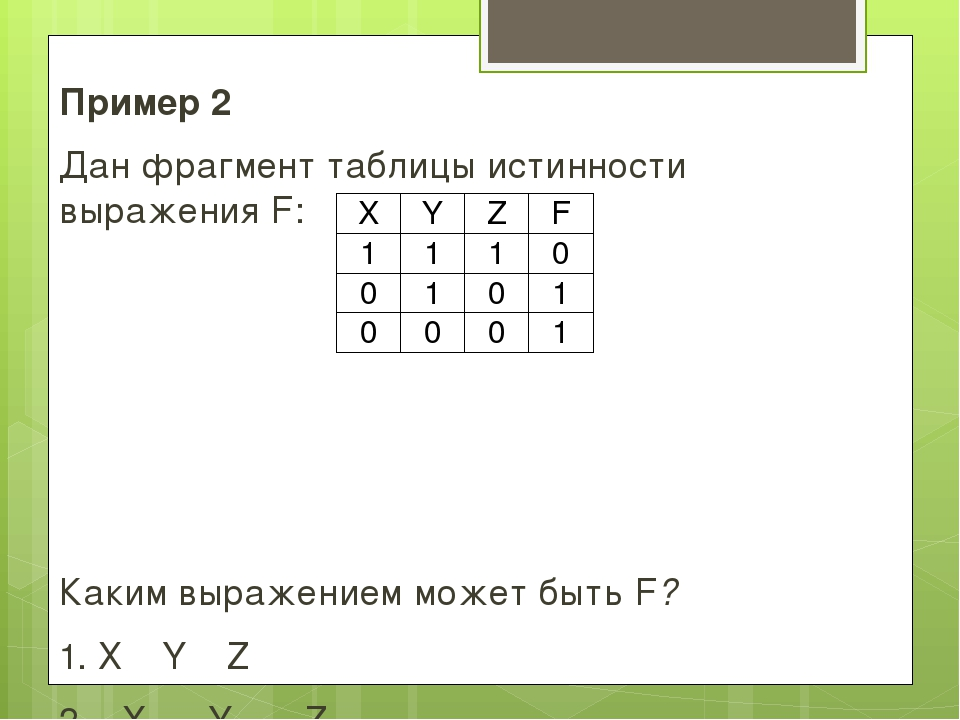 Пример 2 Дан фрагмент таблицы истинности выражения F: Каким выражением может...