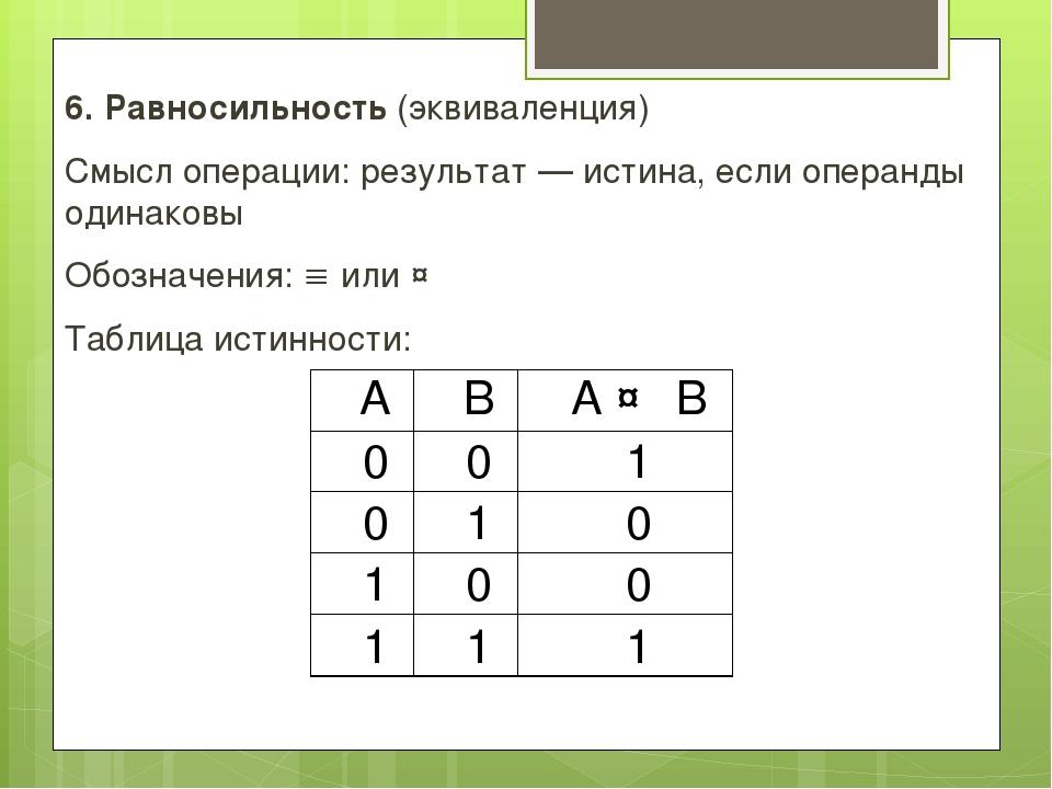 6. Равносильность (эквиваленция) Смысл операции: результат — истина, если опе...