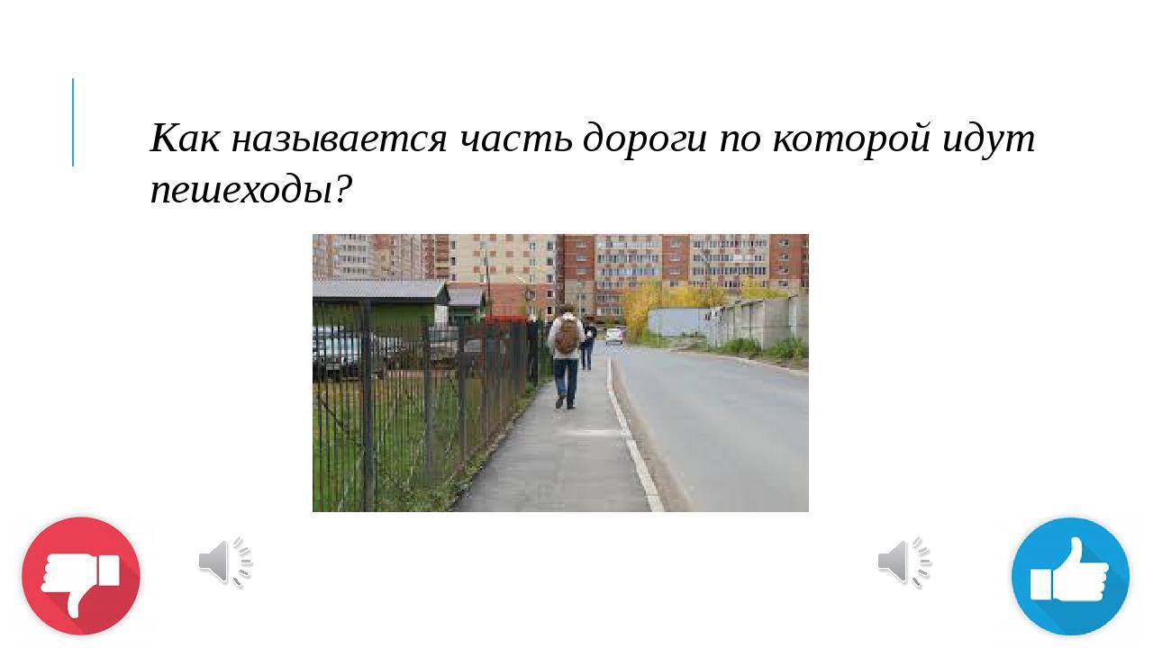 Как называется часть дороги по которой идут пешеходы?
