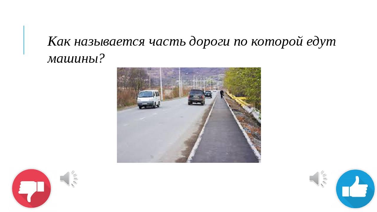 Как называется часть дороги по которой едут машины?