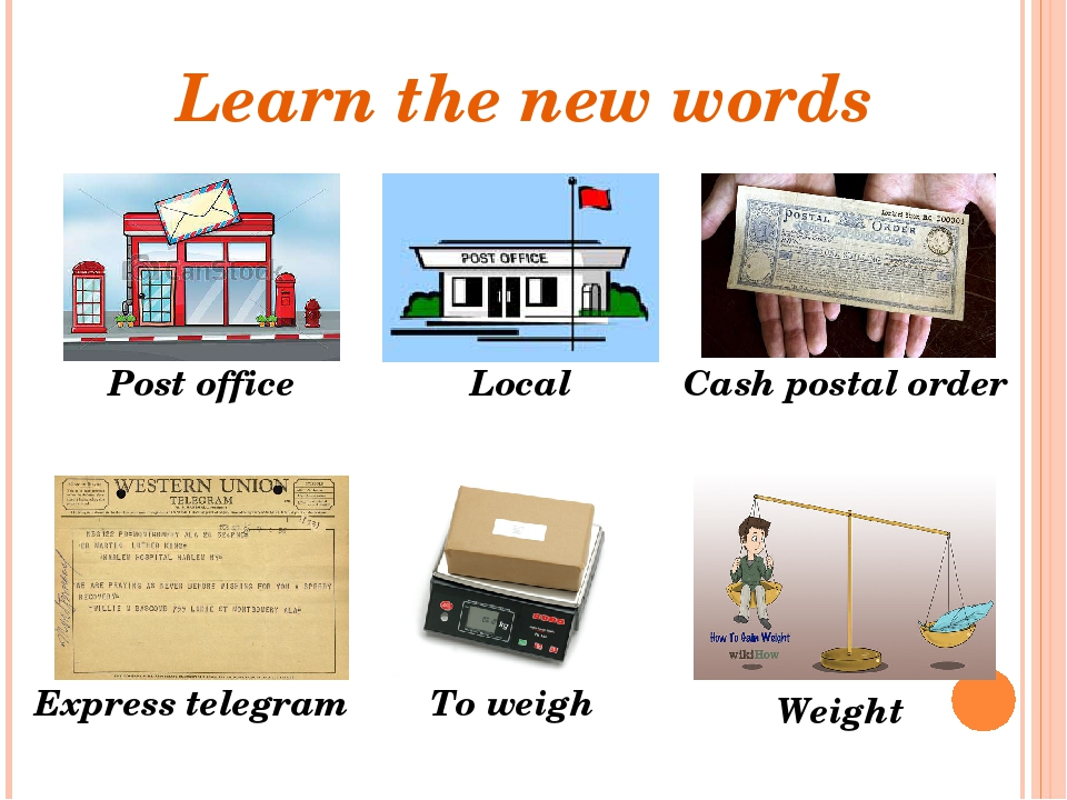 Learn the new words Post office To weigh Local Cash postal order Express tele...