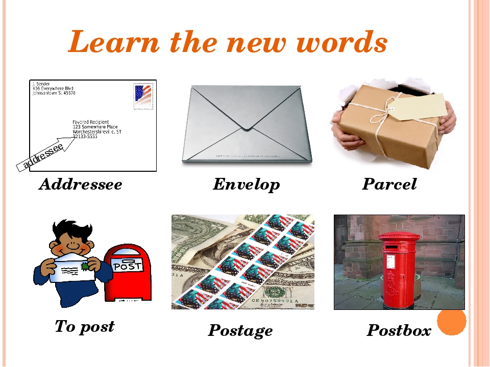 Learn the new words Addressee Postbox Postage Envelop To post Parcel addressee