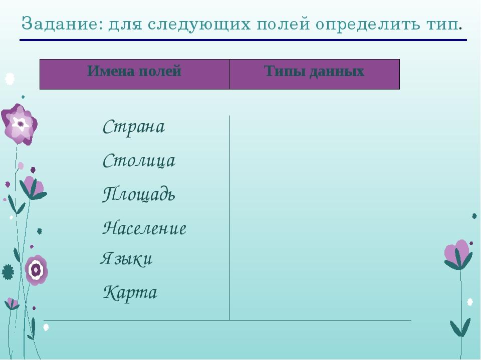 Задание: для следующих полей определить тип. Страна Столица Площадь Население...
