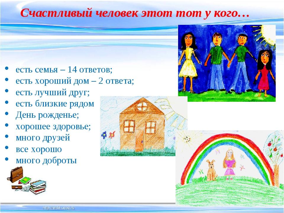 есть семья – 14 ответов; есть хороший дом – 2 ответа; есть лучший друг; есть...