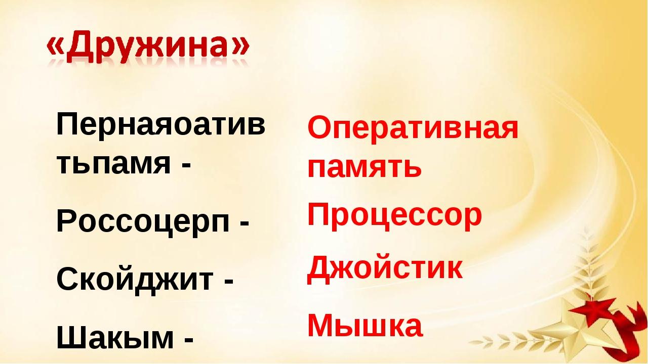 Пернаяоатив тьпамя - Россоцерп - Скойджит - Шакым - Оперативная память Процес...