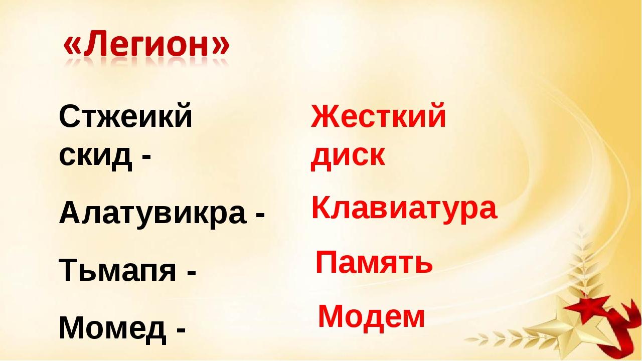 Стжеикй скид - Алатувикра - Тьмапя - Момед - Жесткий диск Клавиатура Память М...