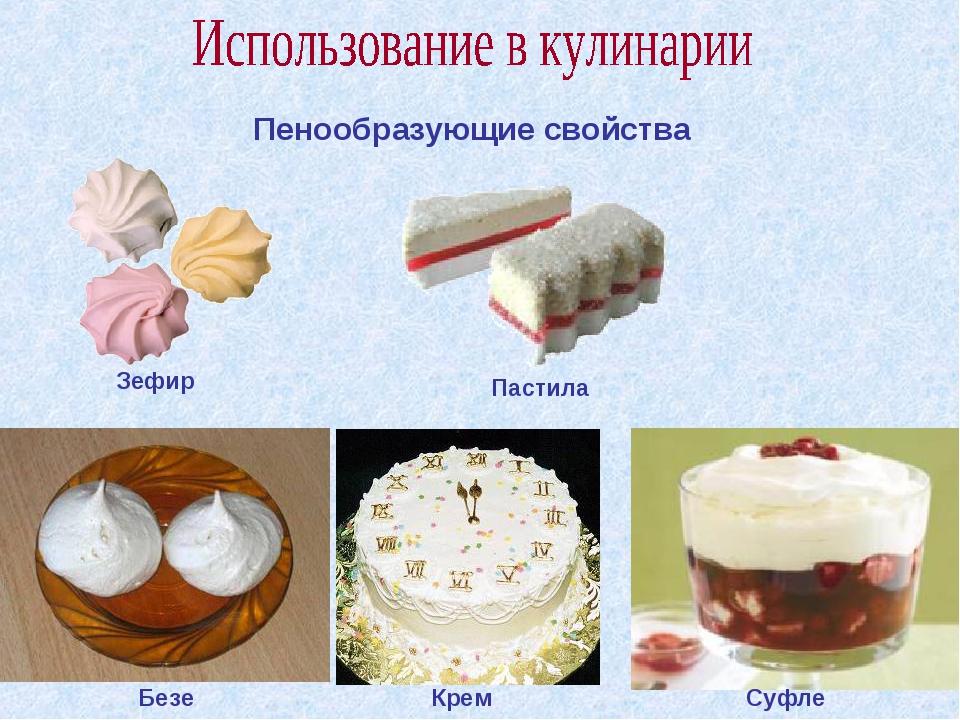 Пенообразующие свойства Безе Крем Суфле Зефир Пастила
