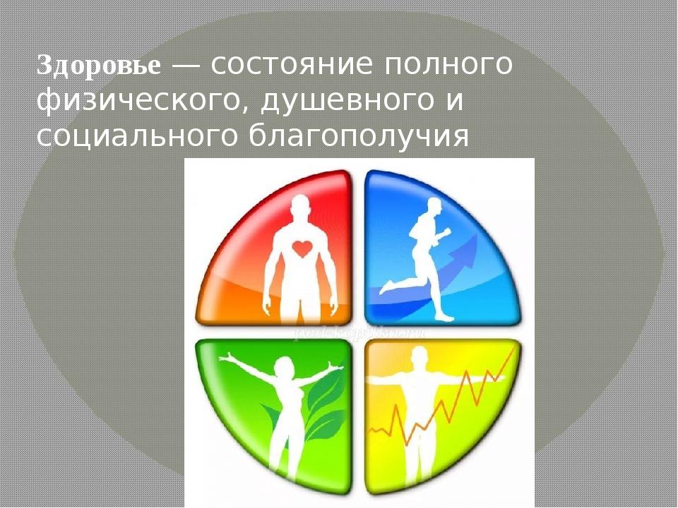 Здоровье— состояние полного физического, душевного и социального благополучия