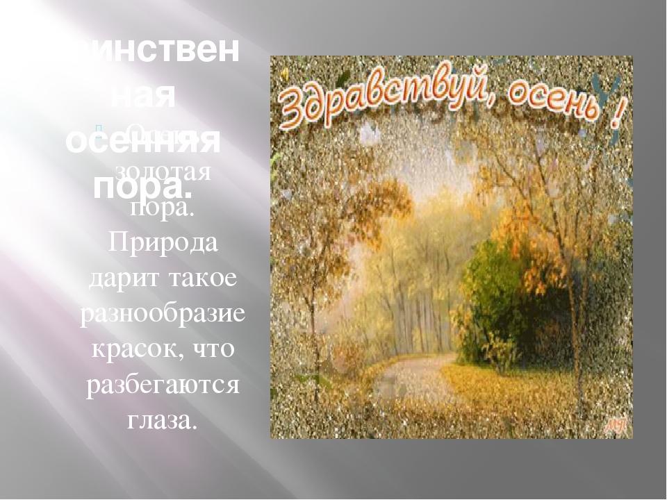 Осень золотая пора. Природа дарит такое разнообразие красок, что разбегаются...
