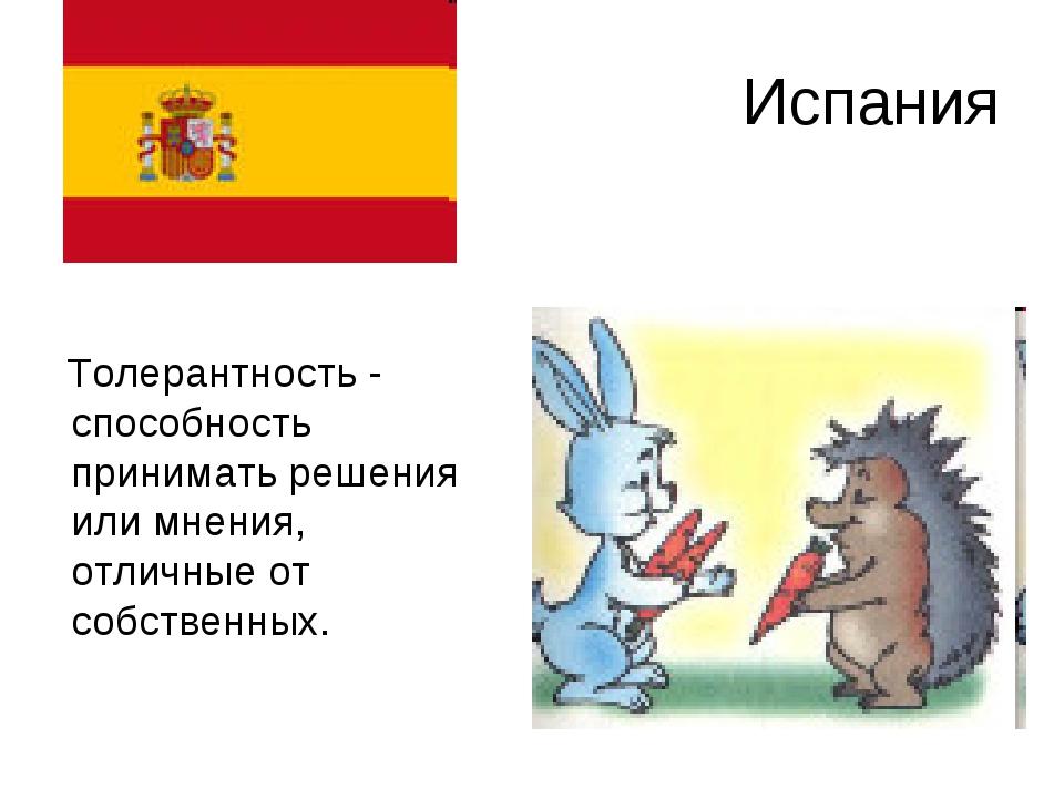 Испания Толерантность - способность принимать решения или мнения, отличные от...