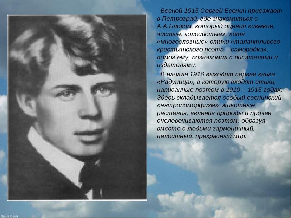 Весной 1915 Сергей Есенин приезжает в Петроград, где знакомиться с А.А.Блоко...
