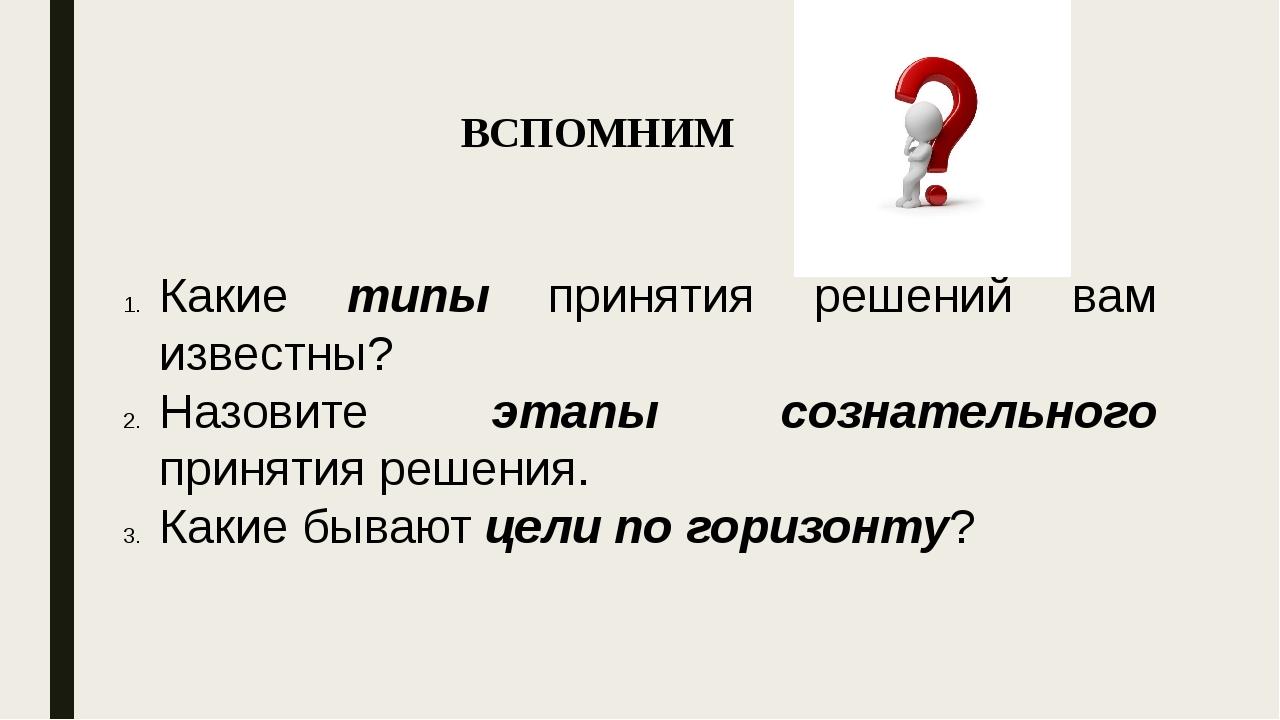 ВСПОМНИМ Какие типы принятия решений вам известны? Назовите этапы сознательно...