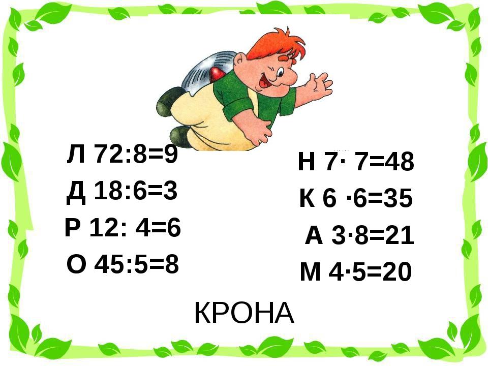 КРОНА Л 72:8=9 Д 18:6=3 Р 12: 4=6 О 45:5=8 Н 7· 7=48 К 6 ·6=35 А 3·...