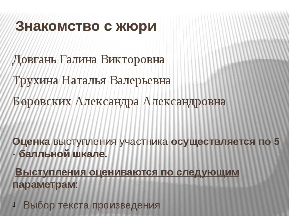 Знакомство с жюри Довгань Галина Викторовна Трухина Наталья Валерьевна Боровс...