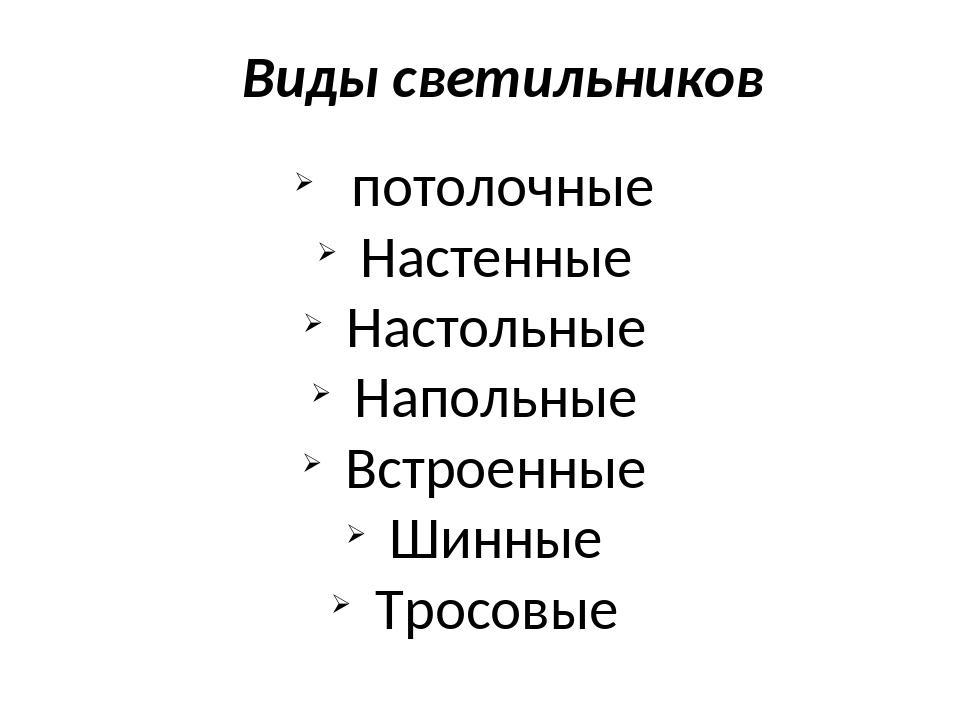Виды светильников потолочные Настенные Настольные Напольные Встроенные Шинные...