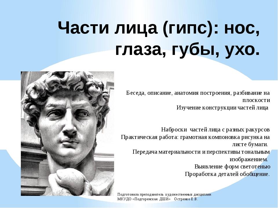 Части лица (гипс): нос, глаза, губы, ухо. Беседа, описание, анатомия построен...