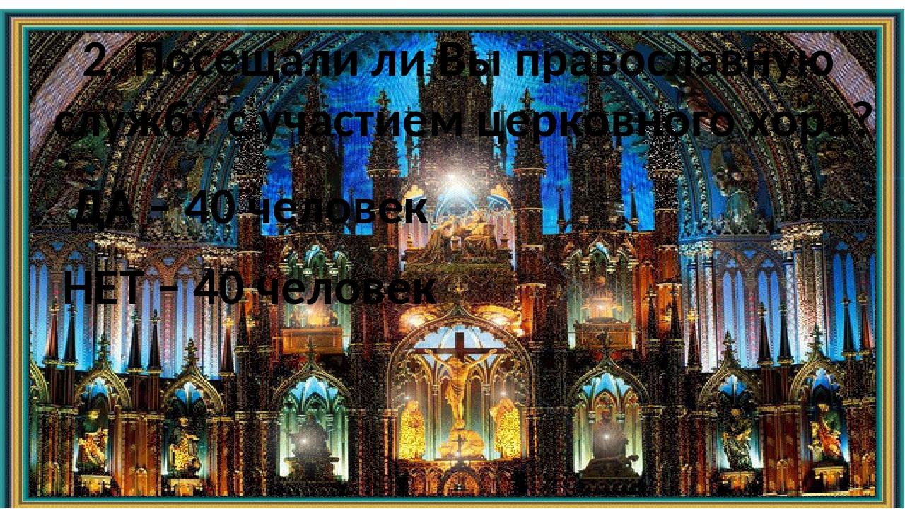2. Посещали ли Вы православную службу с участием церковного хора? ДА – 40 чел...
