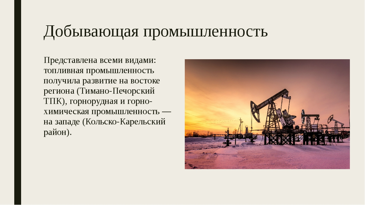 Добывающая промышленность Представлена всеми видами: топливная промышленность...