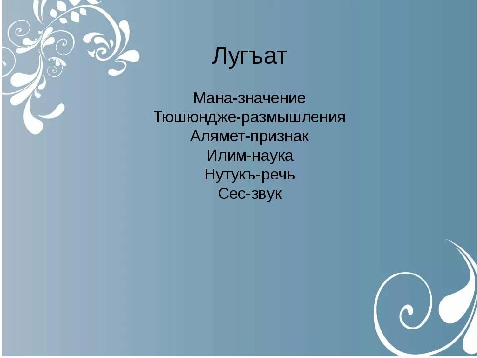 Лугъат Мана-значение Тюшюндже-размышления Алямет-признак Илим-наука Нутукъ-р...
