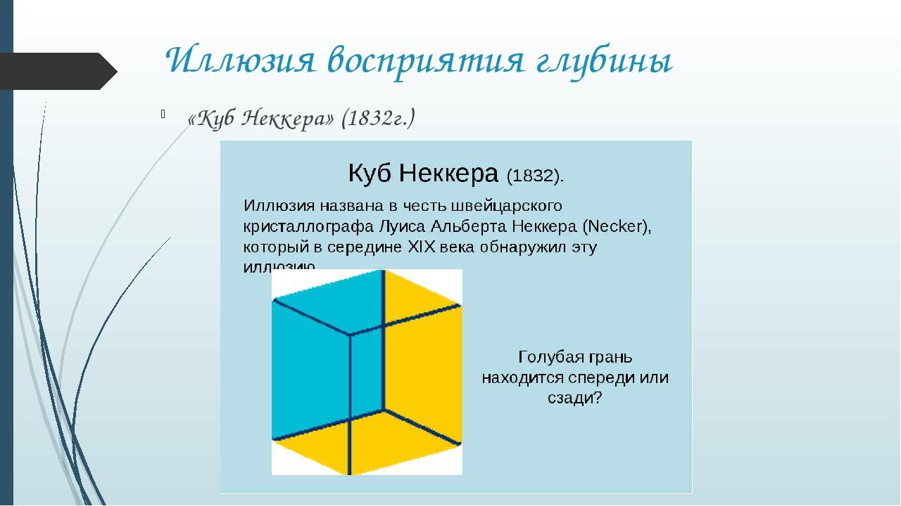 Иллюзия восприятия глубины «Куб Неккера» (1832г.)