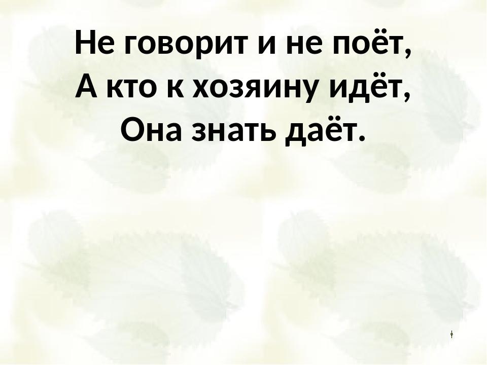 Не говорит и не поёт, А кто к хозяину идёт, Она знать даёт.