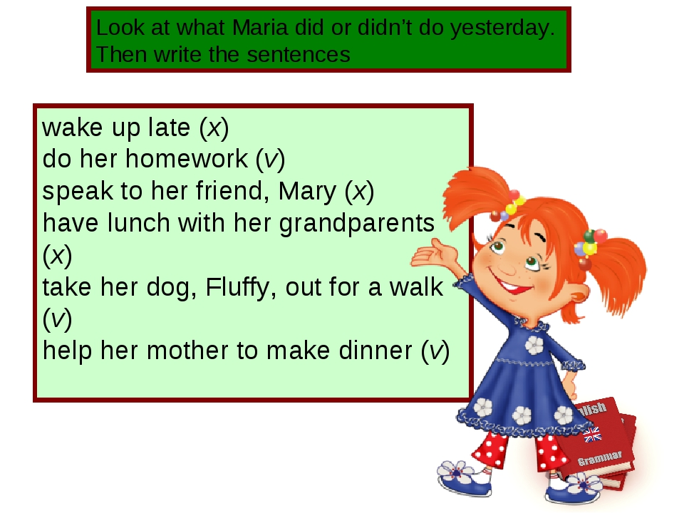 Look at what Maria did or didn't do yesterday. Then write the sentences wake...