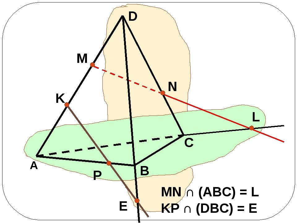 MN ∩ (ABC) = L KP ∩ (DBC) = E L K P E