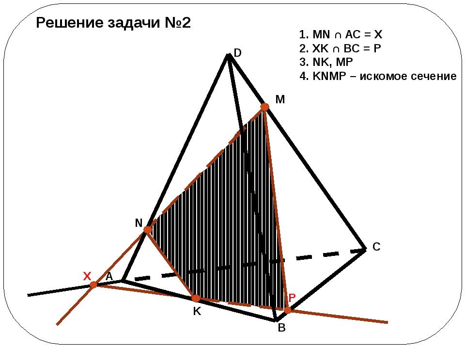 Решение задачи №2 1. MN ∩ AC = X 2. XK ∩ BC = P 3. NK, MP 4. KNMP – искомое...