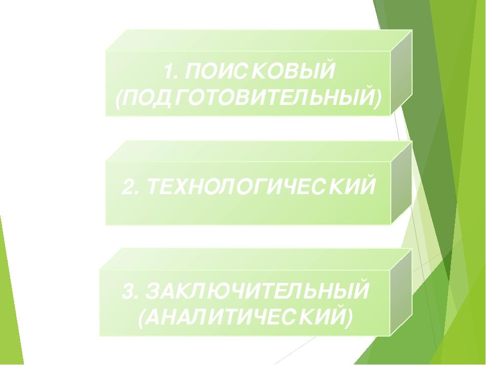 1. ПОИСКОВЫЙ (ПОДГОТОВИТЕЛЬНЫЙ) 2. ТЕХНОЛОГИЧЕСКИЙ 3. ЗАКЛЮЧИТЕЛЬНЫЙ (АНАЛИТИ...