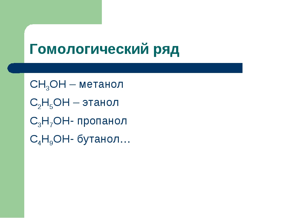 Гомологический ряд СН3ОН – метанол С2Н5ОН – этанол С3Н7ОН- пропанол С4Н9ОН- б...