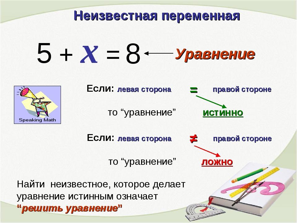 Неизвестная переменная 5 + x = 8 Уравнение Если: левая сторона правой стороне...