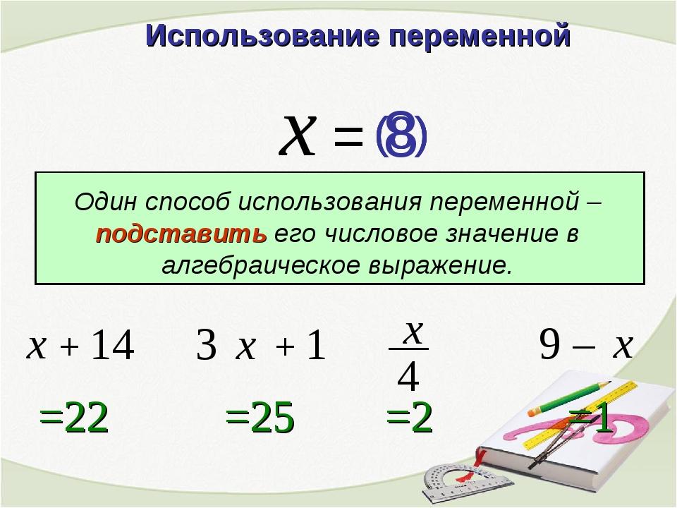 9 – Использование переменной x = + 14 3 + 1 =22 =25 x x =1 x =2 x Один способ...