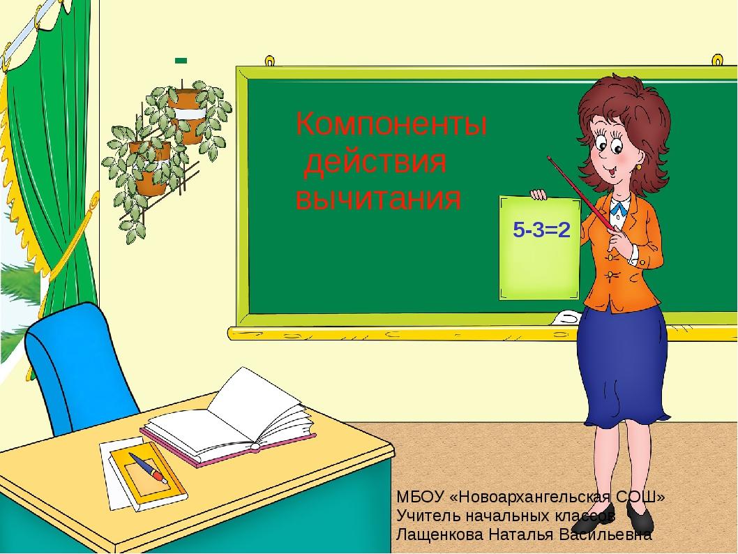 Компоненты действия вычитания 5-3=2 МБОУ «Новоархангельская СОШ» Учитель нача...