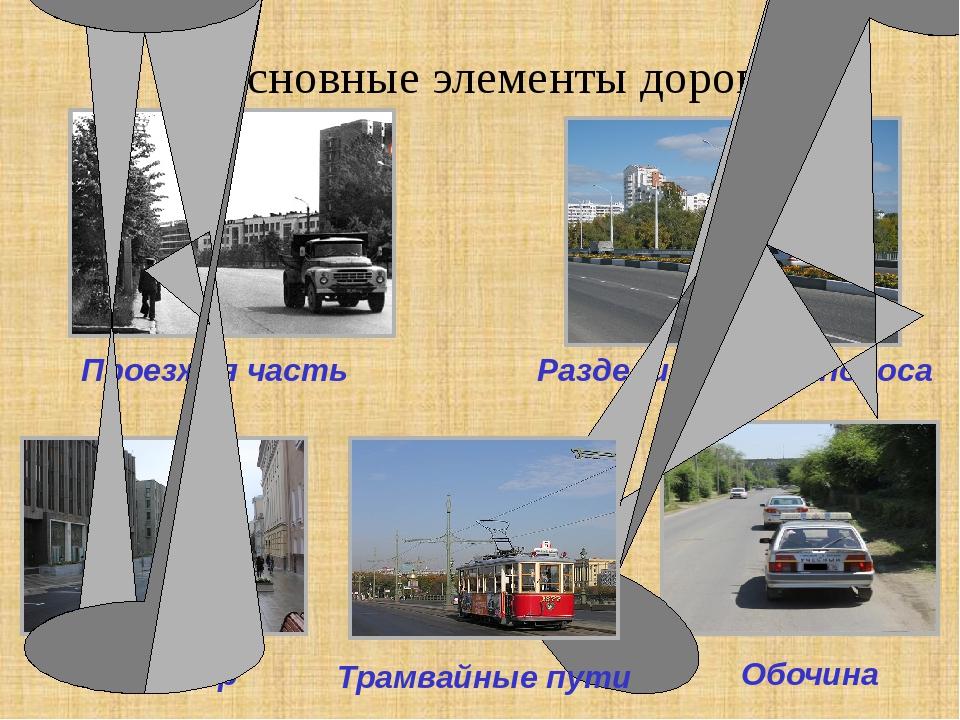 Основные элементы дороги Проезжая часть Тротуар Обочина Разделительная полоса...