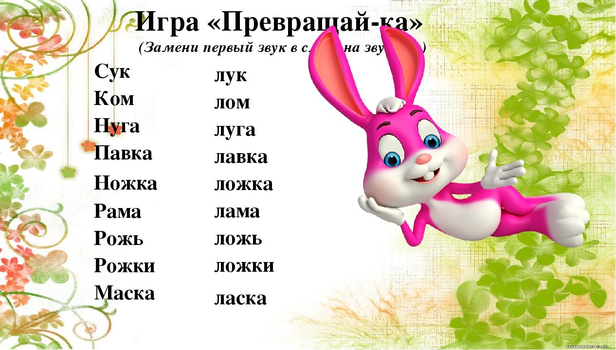 Игра «Превращай-ка» (Замени первый звук в слове на звук [л] ) Сук Ком Нуга Па...