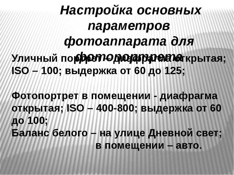 Уличный портрет – диафрагма открытая; ISO – 100; выдержка от 60 до 125; Фотоп...