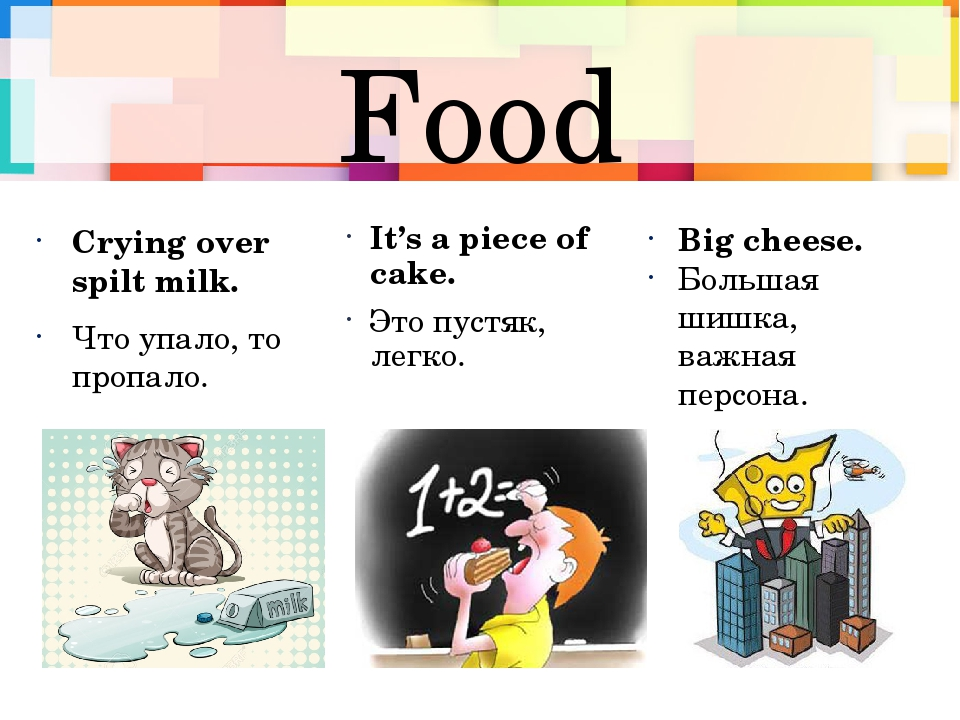 Food Crying over spilt milk. Что упало, то пропало. It's a piece of cake. Это...