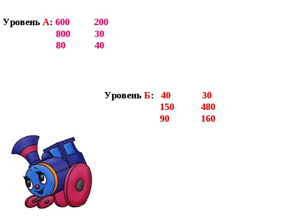 Уровень А: 600 200 800 30 80 40 Уровень Б: 40 30 150 480 90 160